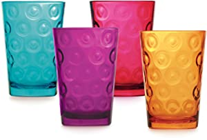 Circleware Circles Colored Heavy Base Highball Beverage Drinking Glasses, 9 oz, Lead Free Dishwasher Safe Glassware Glass Tumbler Drink Cups for Water, Juice, Beer, Wine & Cocktails