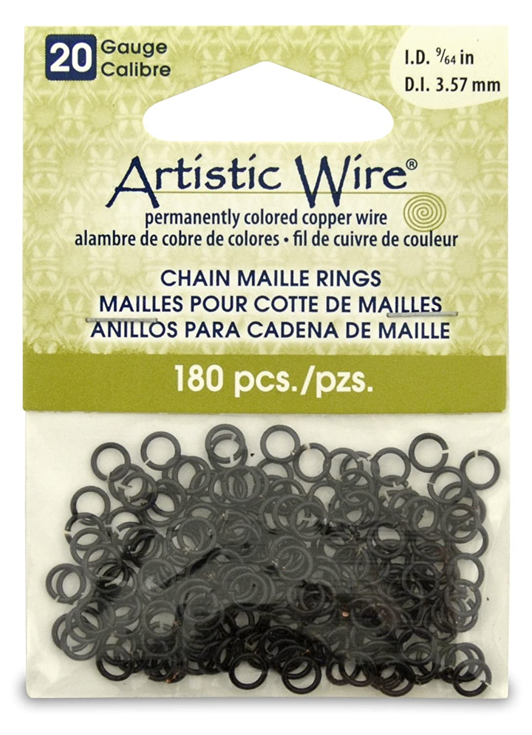Artistic Wire Beadalon 9/64-inch 180 Piece 20-Gauge Chain Maille Rings, Black A314-20-02-05