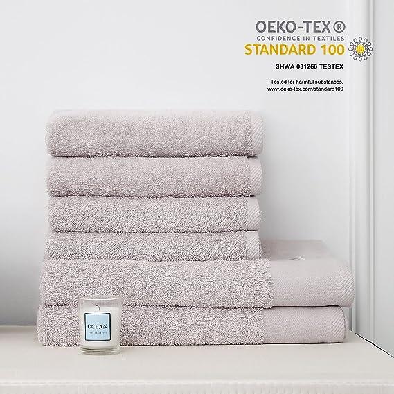MonTrüe Conjunto de Toallas de baño de Hotel y SPA de Lujo 500 gsm, 100% de algodón hilada en Anillo, Juego de Sei, Gris Plateado: Amazon.es: Hogar