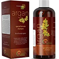 (16 oz shampoo) - Pure Argan Oil Shampoo with Argan Jojoba Avocado Almond Peach Kernel Camellia Seed and Keratin Safe for Colour Treated Hair for Men Women Teens All Hair Types Sulphate Free Silicone Free Cruelty Free