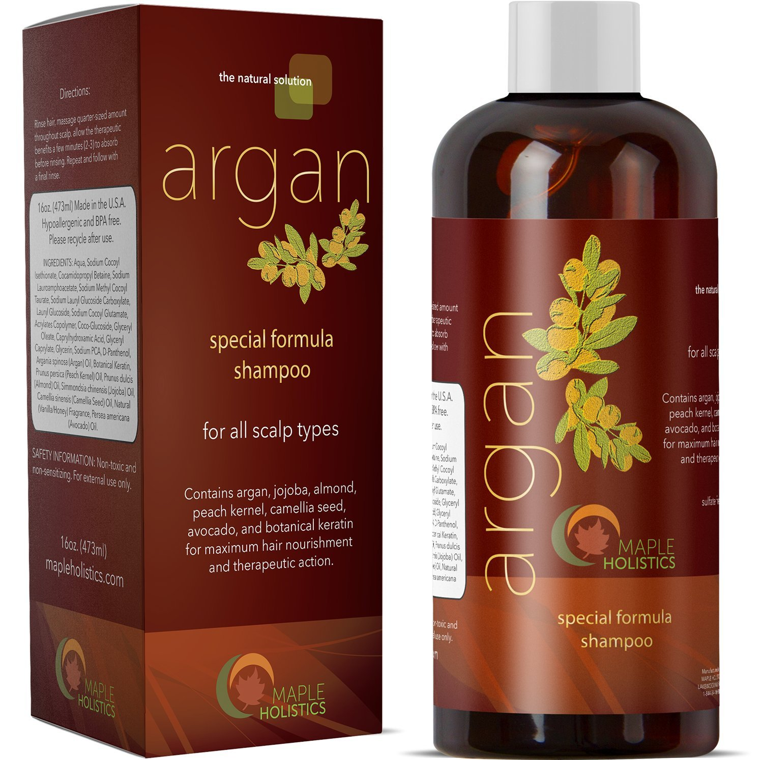 Pure Argan Oil Shampoo with Argan Jojoba Avocado Almond Peach Kernel Camellia Seed and Keratin Safe for Color Treated Hair for Men Women Teens All Hair Types Sulfate Free Silicone Free Cruelty Free by Maple Holistics