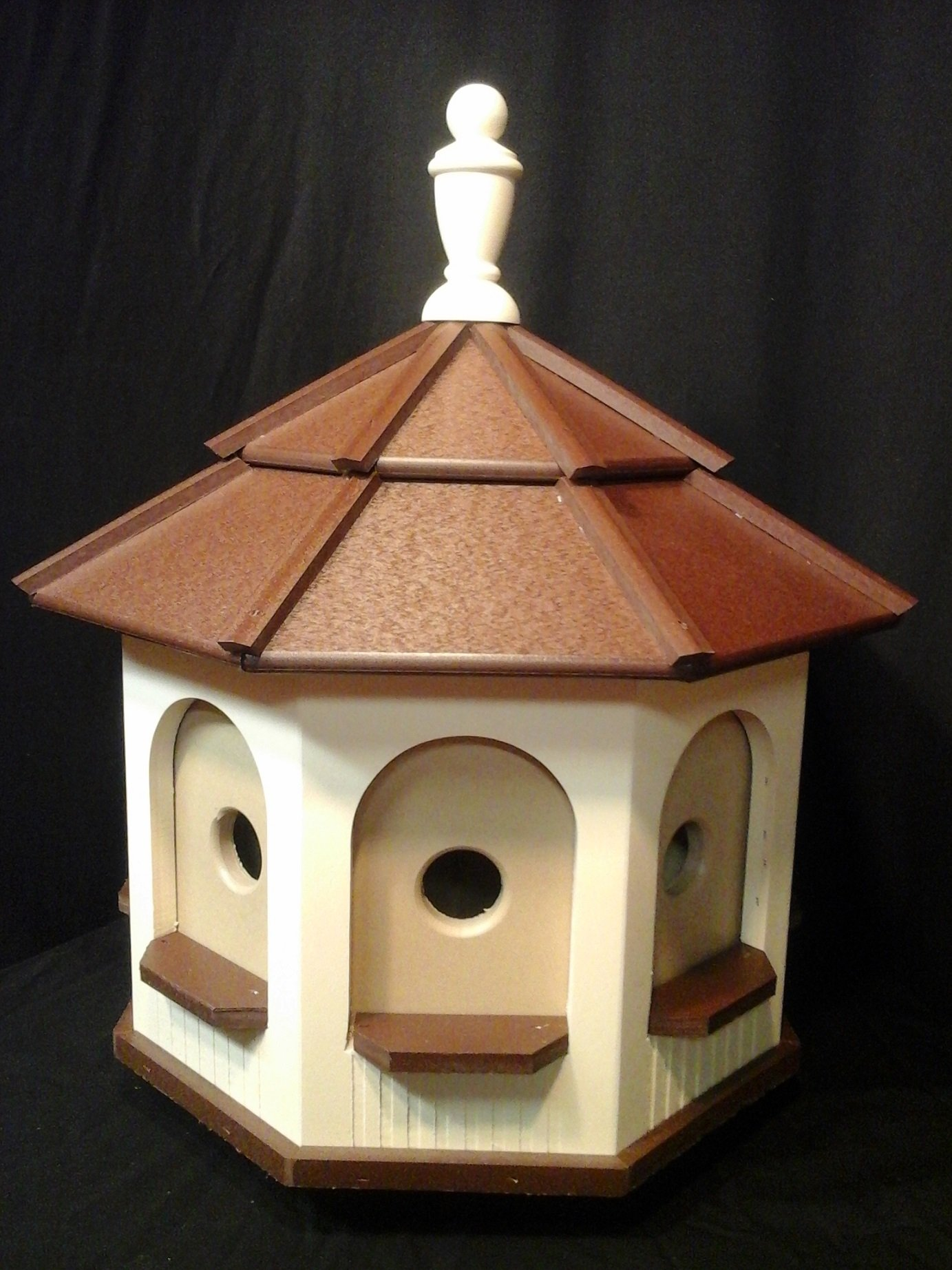 Large Poly Handcrafted Handmade Homemade Birdhouse Garden Ivory & Brown Roof