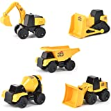 Micro Mini Construction Vehicles – Set of 5 Toy Cars and Trucks for Kids | Birthday Party Gift for Boys | Excavator…
