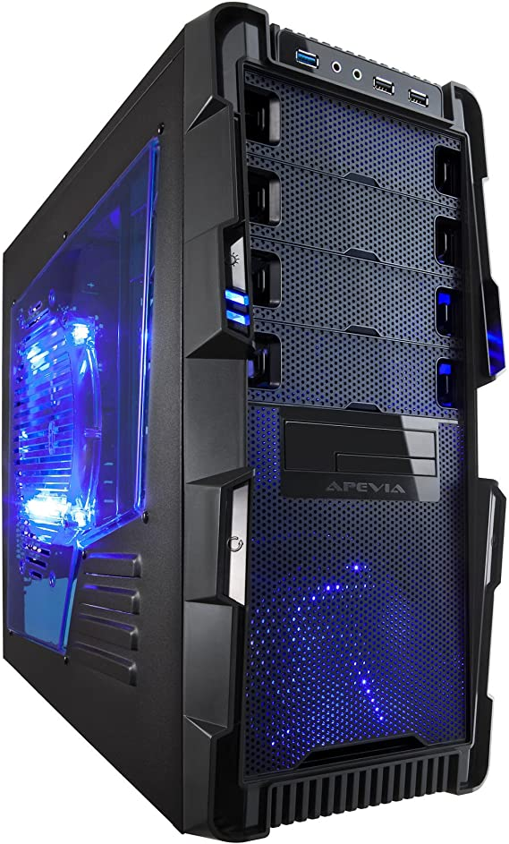 Apevia X-HERMES-BL ATX Mid Tower PC Gaming Case with 5 Fans