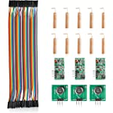 Aukru 433MHz Transmitter Receiver Module Antenna Helical Remote Control F - F Jumper Cable kit for Arduino Raspberry pi