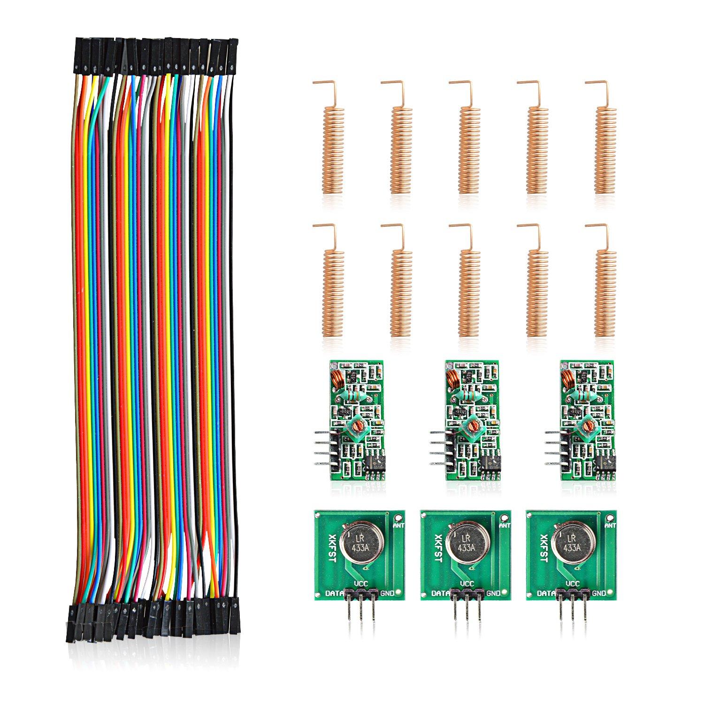 Aukru 3X 433 MHz Empfä nger und Funk- Sende Modul Wireless Transmitter-Modul + 40pcs x 20cm Female-Female Jumper Kabel Dupont Wire + 10pcs Antenne Helical Spring Fernbedienung fü r Arduino Raspberry Pi EU-3X433M+10Antenna+F-F