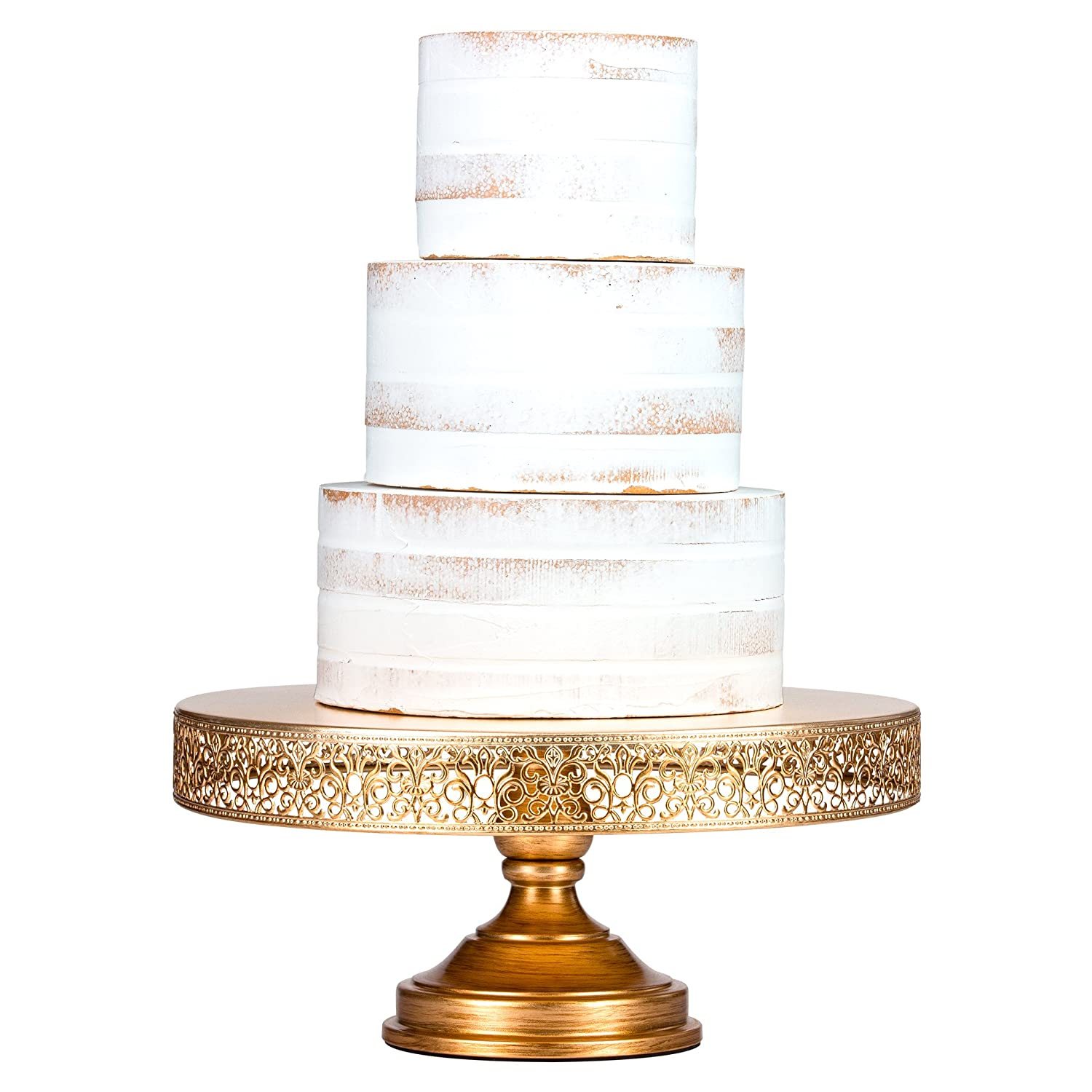Amazon.com | Victoria Antique Gold 16 Inch Cake Stand, Round Metal ...