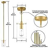 Effimero Medium Hanging Pendant Light | Satin Brass Kitchen Island Light, Clear Glass Shade LL-P313-SB