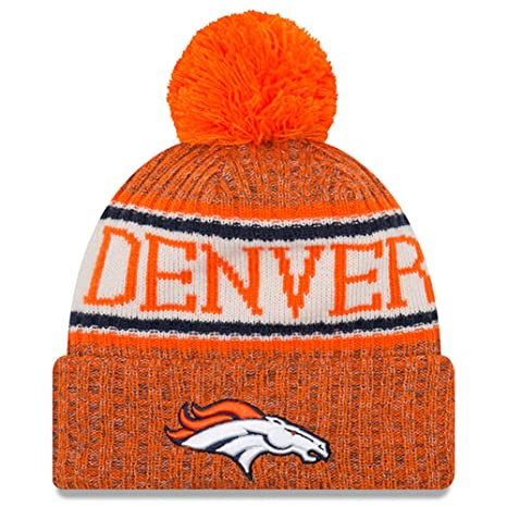 214aae9be80 New Era Knit Denver Broncos Biggest Fan Redux Sport Knit Winter Stocking  Beanie Pom Hat Cap