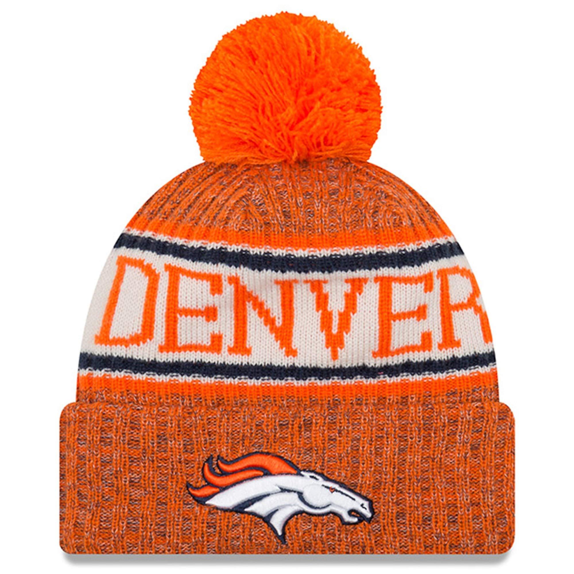 New Era Knit Denver Broncos Biggest Fan Redux Sport Knit Winter Stocking Beanie Pom Hat Cap NFL
