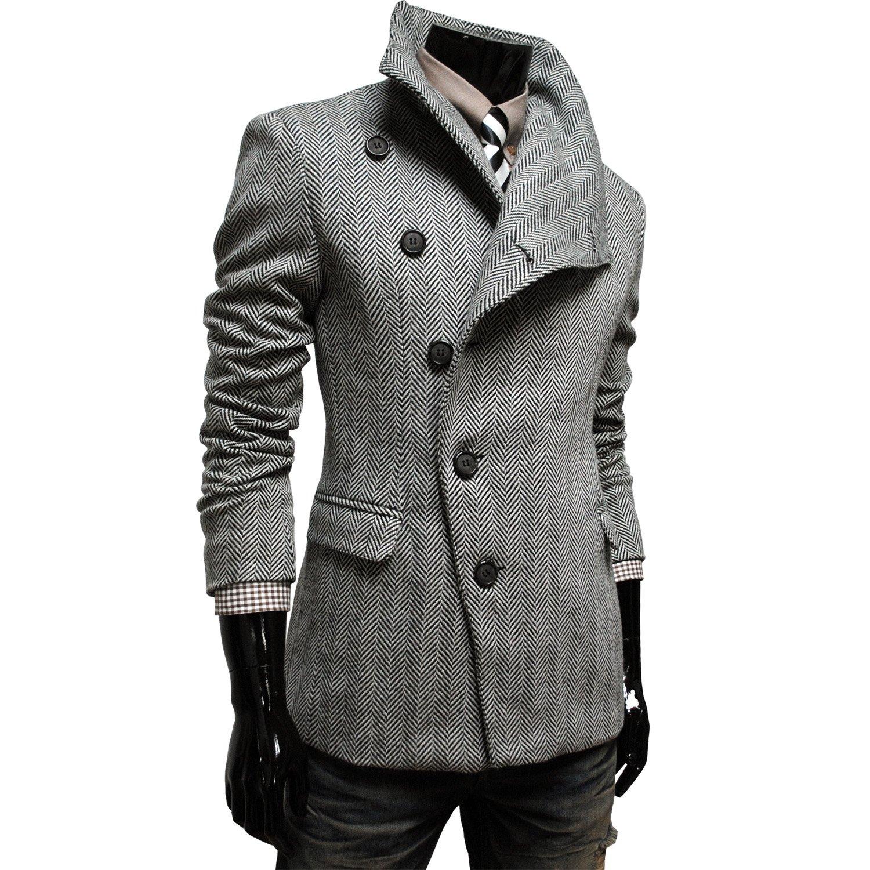 TheLees (AJK) Mens Unbalance High Neck Slim PEA Coat Jacket