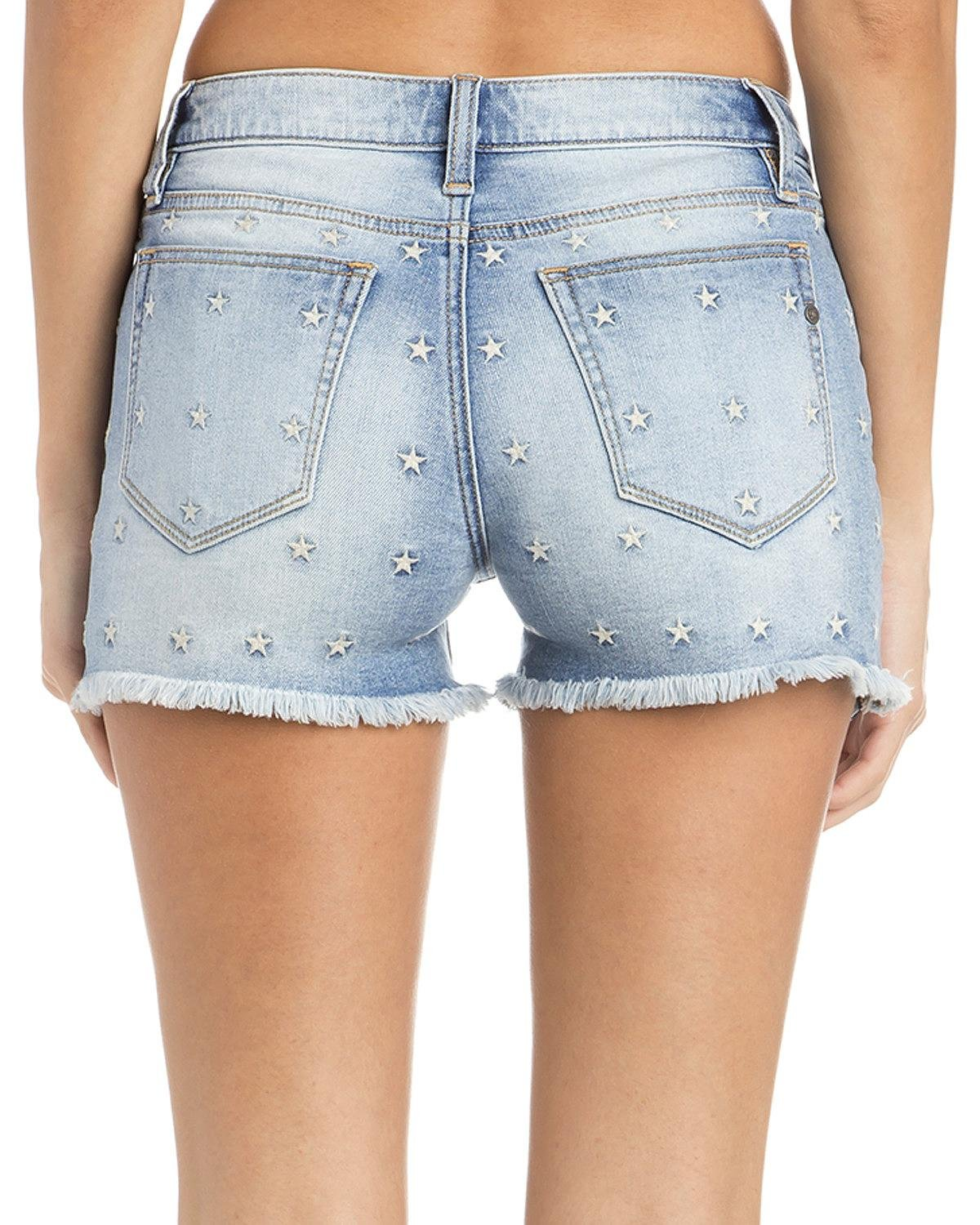 Miss Me Women's Americana Mid-Rise Denim Cutoff Shorts Blue 30