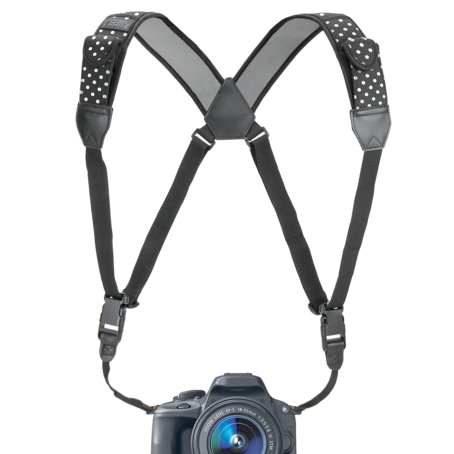 Camera Strap Chest Harness with Polka Dot Neoprene and Accessory Pockets by USA GEAR - Works with Canon , Nikon , Fujifilm , Sony , Panasonic and More DSLR , Point & Shoot , Mirrorless Cameras Accessory Power