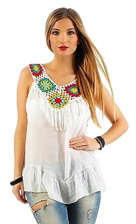 b15e2ef175868 IKONA21 – Fashion Italy Damen Shirt Bluse Tunika Hippie Boho-Style ...