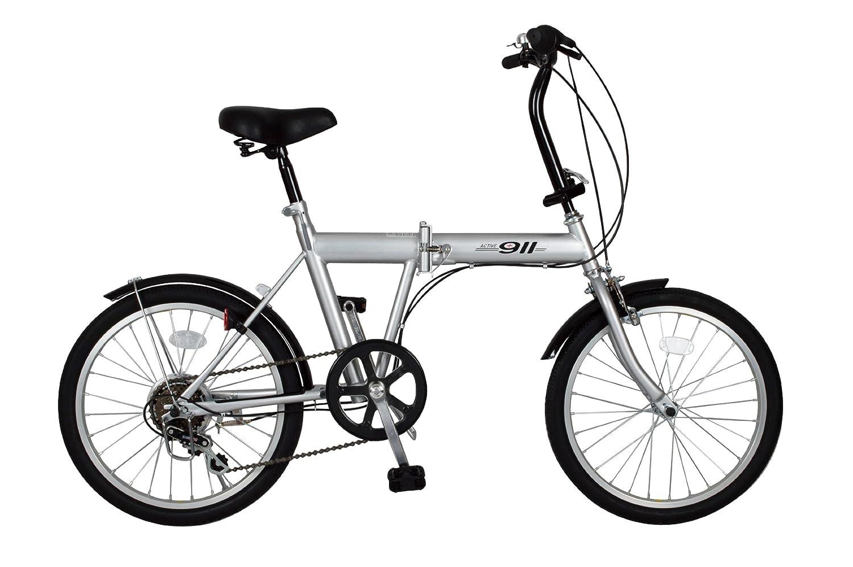 ACTIVE911(アクティブ911) ノーパンク20インチ折畳自転車 FDB20 6段ギア付き  MG-G206N-WH シルバー B00BYN5A3E