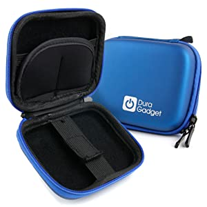 DURAGADGET Blue 'Shell' Carry Case with Belt Clip & Memory Card Holders - Compatible with Transcend DrivePro 220/200 / 100/520 Dash Cam Video Recorder with Built-in Wi-Fi (TS16GDP200)