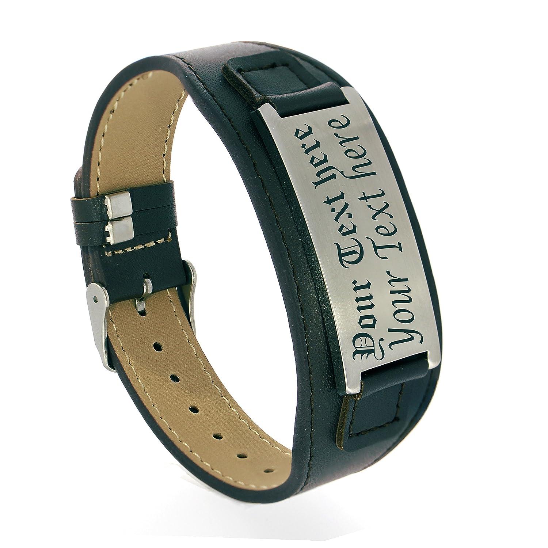 Personalize Engraved Black Genuine Leather Bracelet for Men women, Custom Leather Free Engraving Kedar B3161CUSTOMBLK
