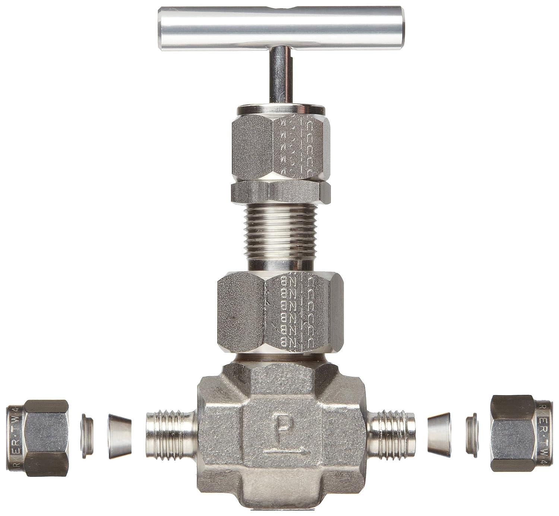 Regulating Stem T-Bar Handle Inline Parker U Series Stainless Steel 316 Needle Valve 3//4 A-Lok Compression Fitting 3//4 A-Lok Compression Fitting 12A-U16LR-T-SS