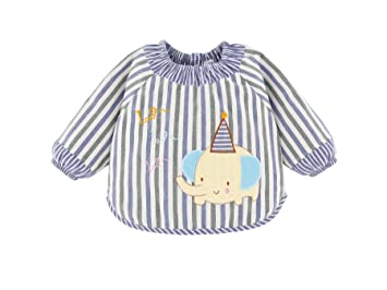 Niños Niñas Baberos Con Mangas Largas Delantales de pintura Blusón impermeable De Algodón Para Comer Elefante Raya Azul-100