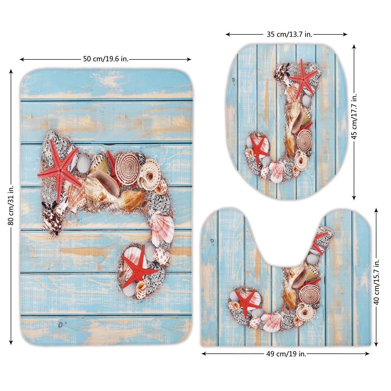3 Piece Bathroom Mat Set,Letter J,Summer Holiday on Tropical Beach Theme J Rustic Old Wood Planks,Pale Blue Ivory Dark Coral,Bath Mat,Bathroom Carpet Rug,Non-Slip