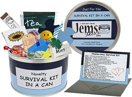 Survival Kit In A Can Caja para regalo de aniversario, divertida, para marido, novio o pareja, en diferentes colores: Amazon.es: Hogar