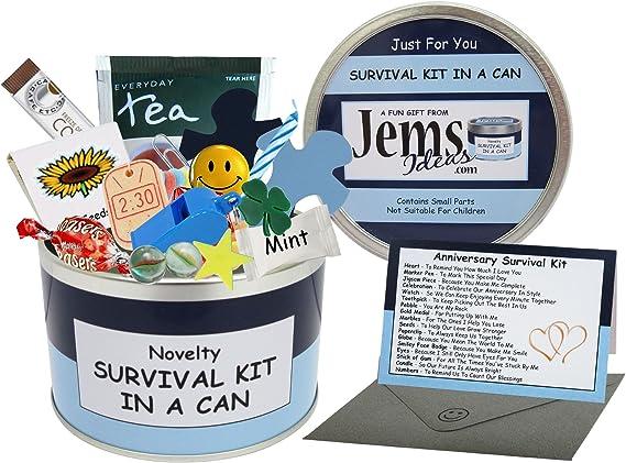 Imagen deSurvival Kit In A Can Caja para regalo de aniversario, divertida, para marido, novio o pareja, en diferentes colores