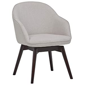 Rivet Vern Contemporary Round Back Dining Chair with Arms, 32 Inch Height, Felt Grey