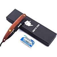 SMITH CHU Men's Folding Straight Razor Shaving Shaver - Professional and Classic Barber Straight Edge Razor with Replaceable blades, Matte Black Blade & Wooden Handle