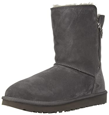 UGG Women's W Classic Short Sparkle Zip Fashion Boot, Charcoal, 11 M US