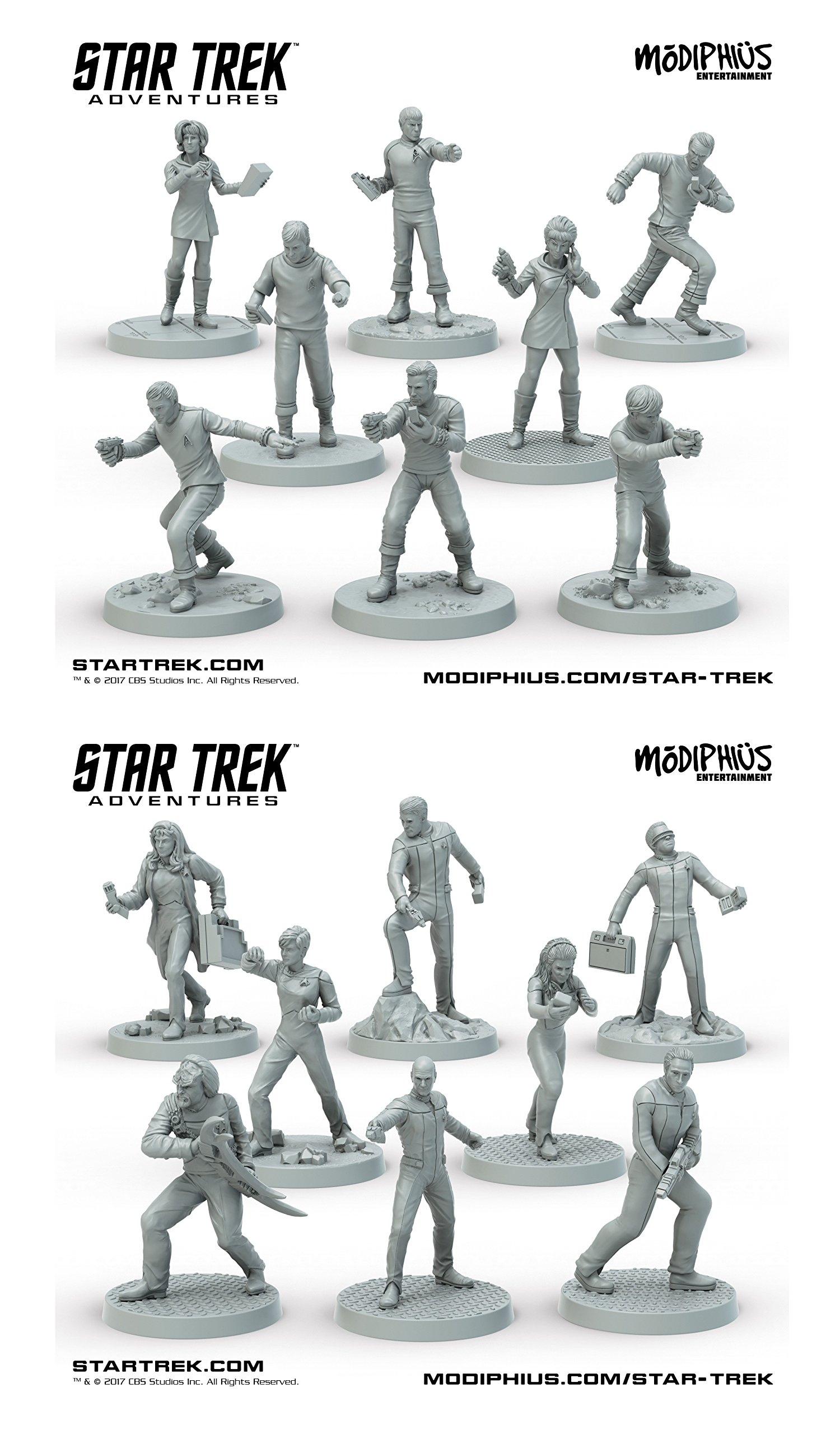 Star Trek Adventures 32mm Miniatures Bundle – The Original Series Bridge Crew & The Next Generation Bridge Crew