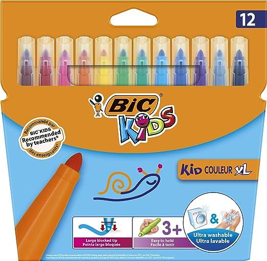 BIC Kids Fasermaler Kid Couleur XL - auswaschbare Filzstifte – 1 x 12 Kinder Filzstifte mit extra dicker Spitze & Form – Ab 3