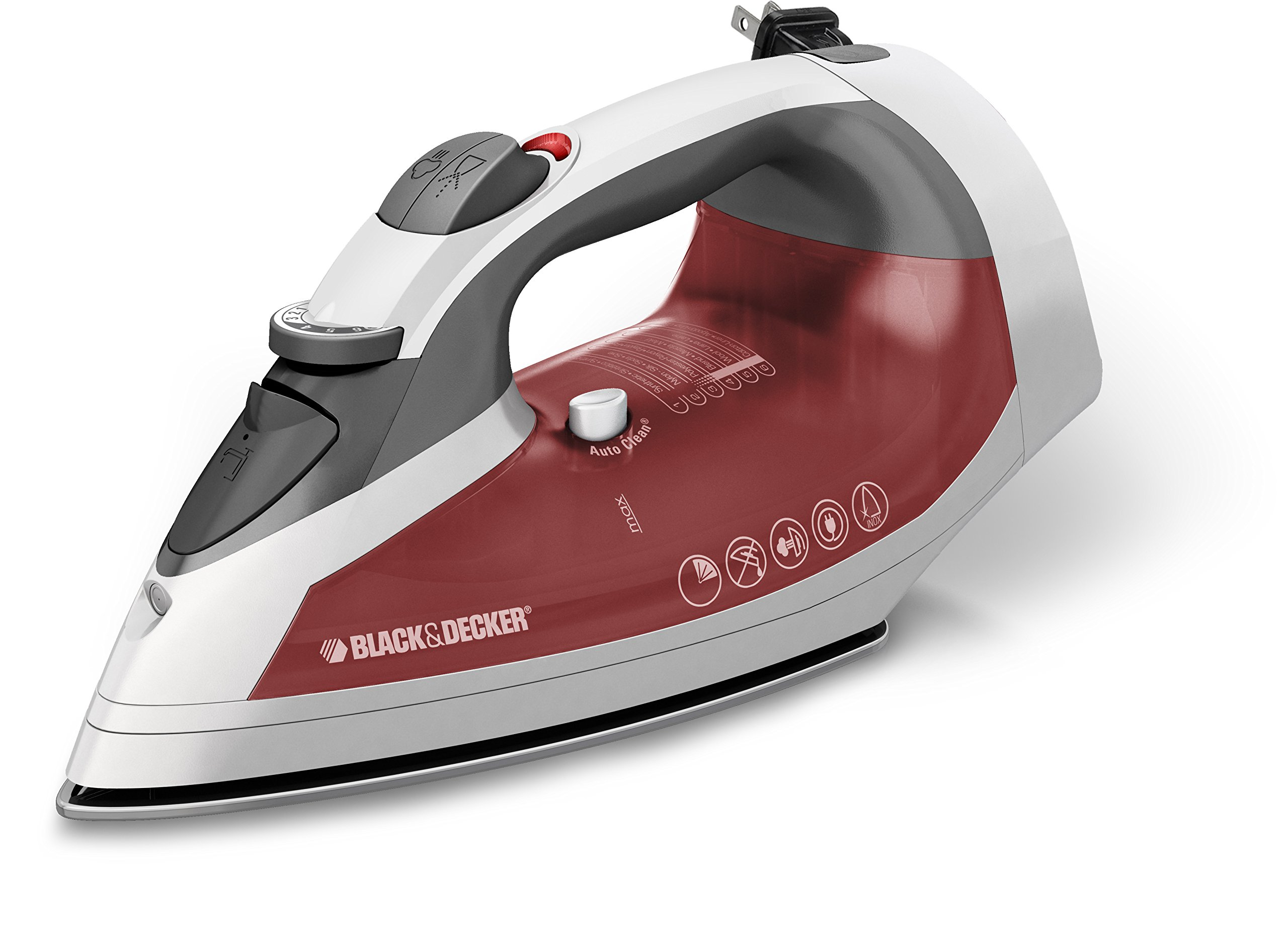 BLACK+DECKER ICR07X Xpress Steam Cord Reel Iron, White/Red