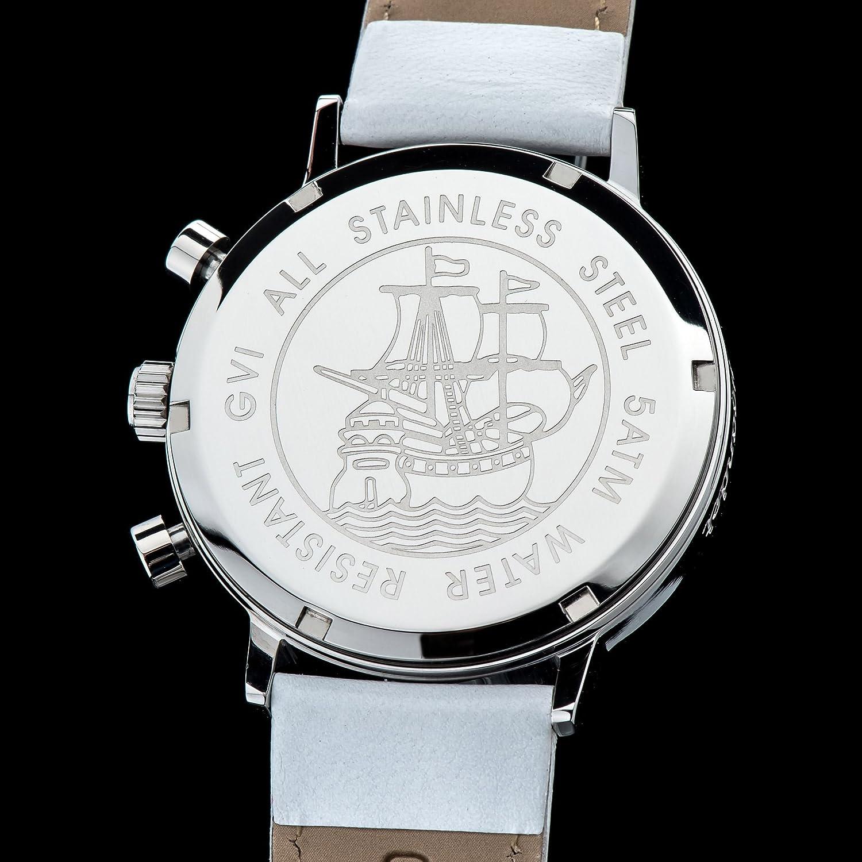 Classico Analog Gigandet Chronograph Lederarmband Weiß Herren Armbanduhr 008 G6 Quarz 7yvbgYf6
