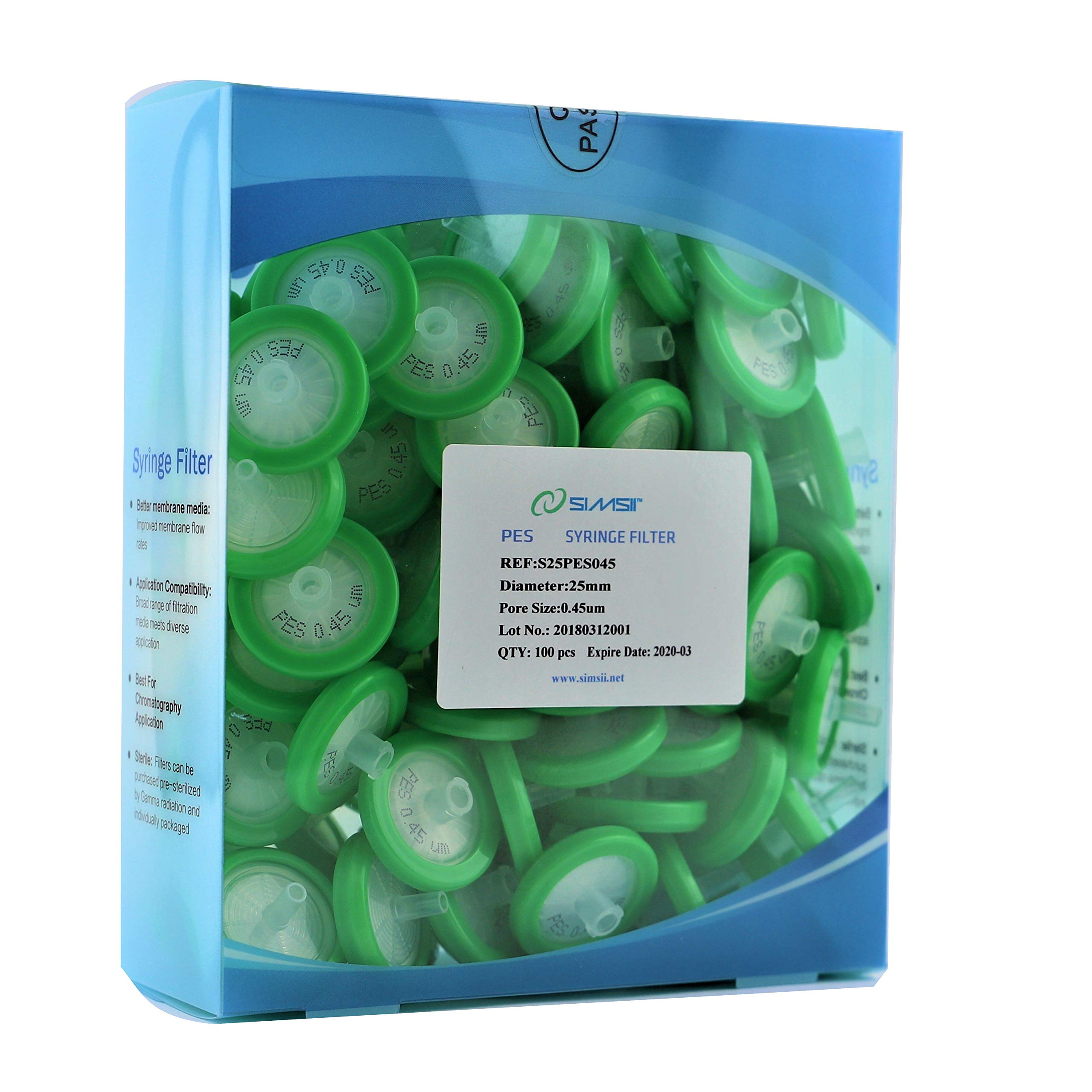Simsii Syringe Filter, PES Non Sterile Micron Lab Filter, Diameter 25mm, Pore Size 0.45um, 100/pack by Simsii