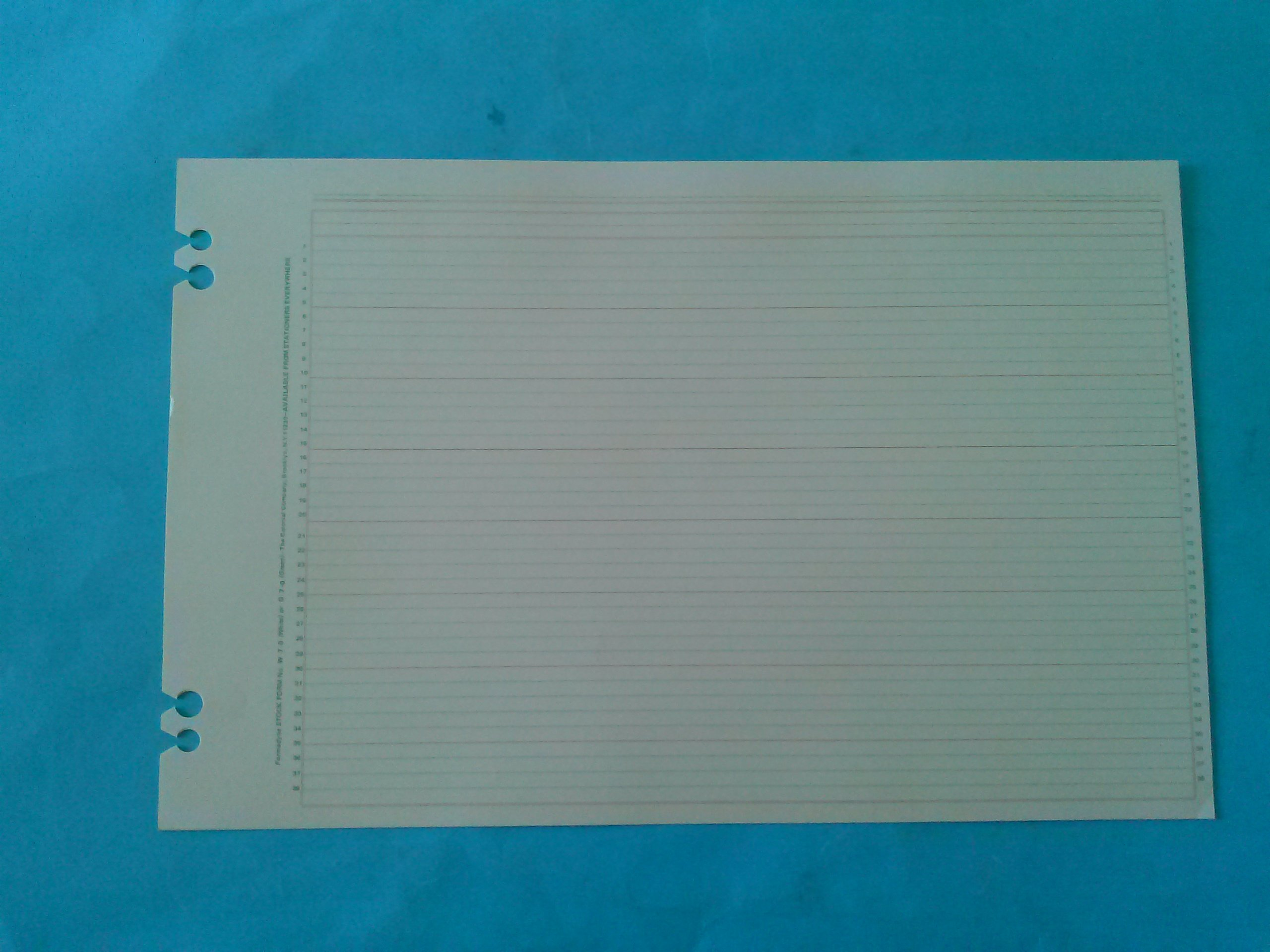 Colonial Formadyne G7-0 Green 100 Sheets 11'' x 17'' Punched 4 Slot Holes 8 1/4'' x 7'' c/c 39 Lines 38 Lines Plus Total