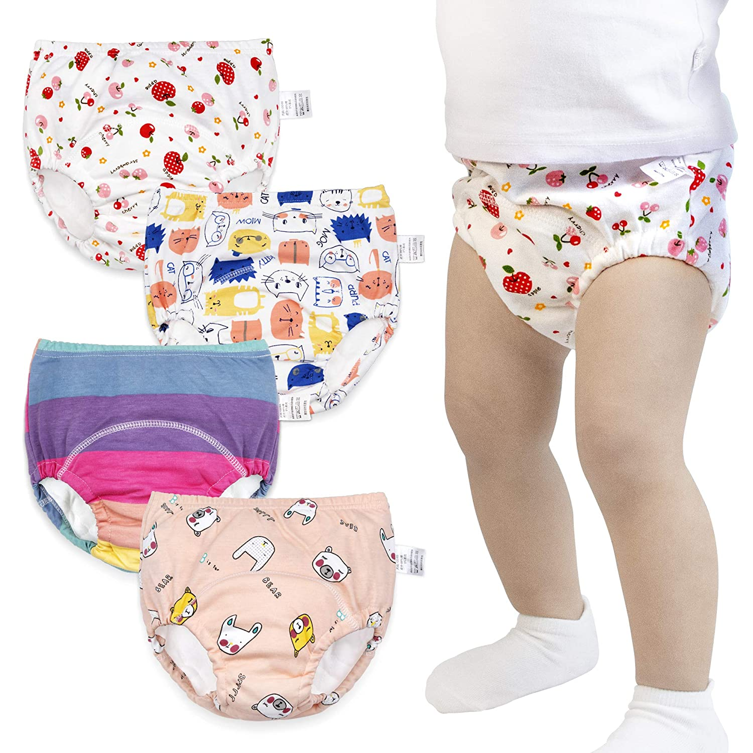 Max Shape Toddler Training Underwear for Girls 12M,2T,3T,4T,Baby Girls Potty Training Pants Cotton 4 Pack