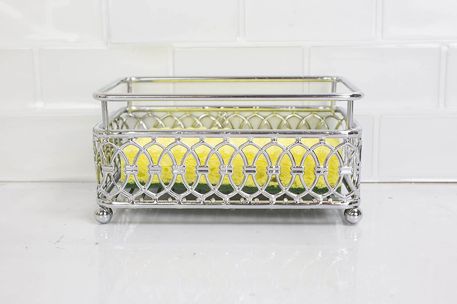 Home Basics Infinity Collection Sponge Holder Chrome HDS Trading Corp