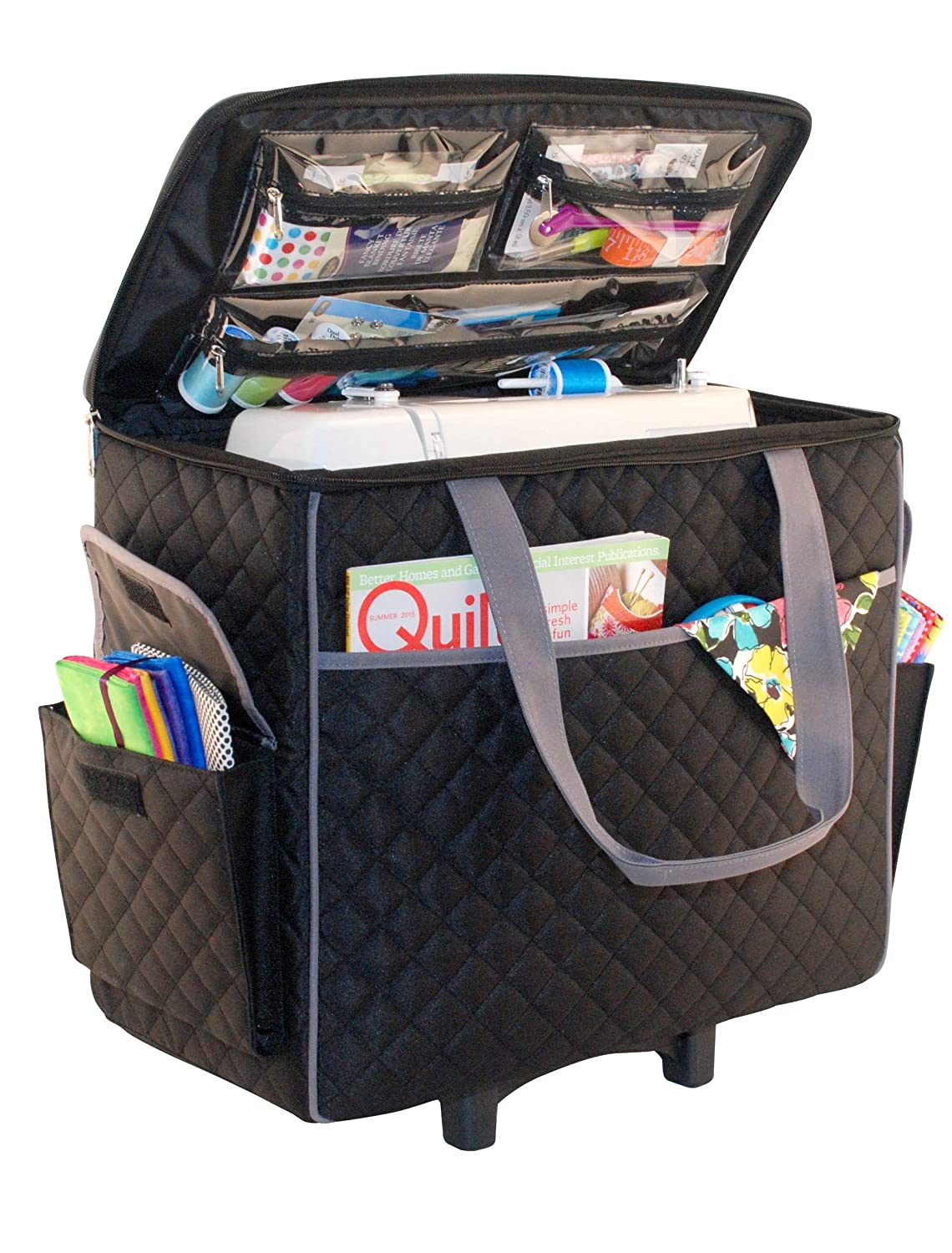 Everything Mary Black Quilted Diamond Rolling Sewing Machine Case with Carrying Handles