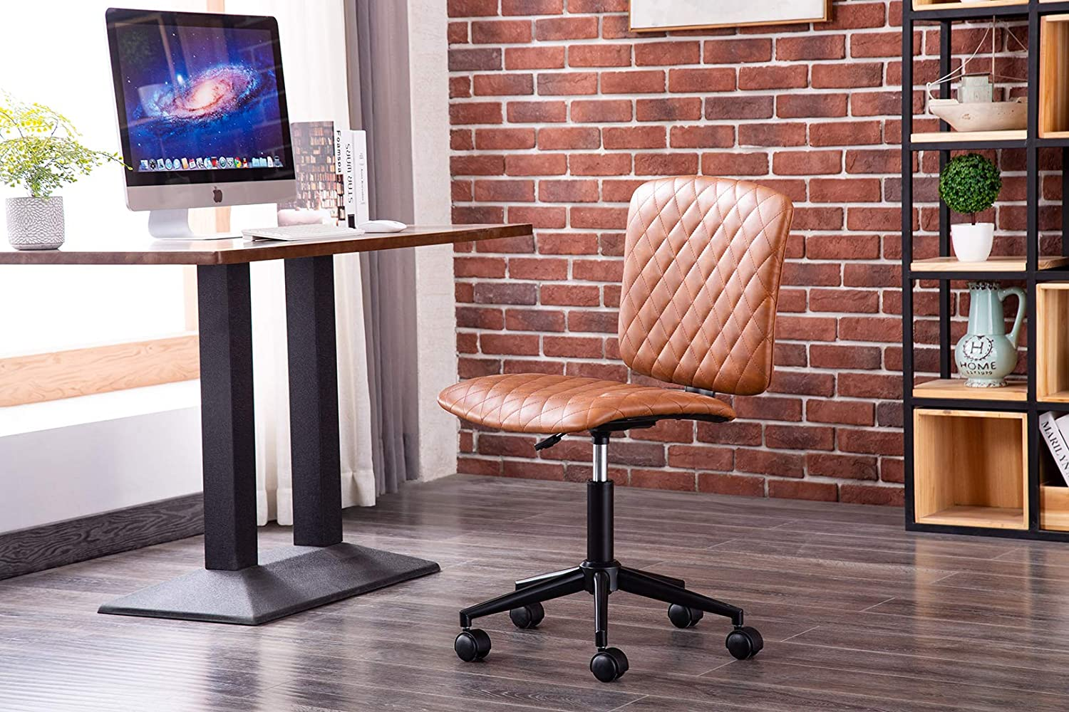 Porthos Home Orlin Swivel Office Chair with Instant Height Adjustment, Diamond Ribbed PU Leather Upholstery and Roller Wheels (Nifty Armless Design for Home Studios and Small Offices)