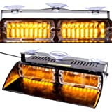 16 LED Emergency Beacon Hazard Warning Windshield LED Strobe Light Lamp for 12V Vehicle Car Truck SUV Interior Roof / Dash / Windshield with Suction Cups (Amber) by Discoball®