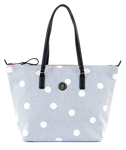 Tommy Hilfiger Aw0aw04968 Poppy Tote Canvas Laniere Femme White Blue Uni Znp49UgI