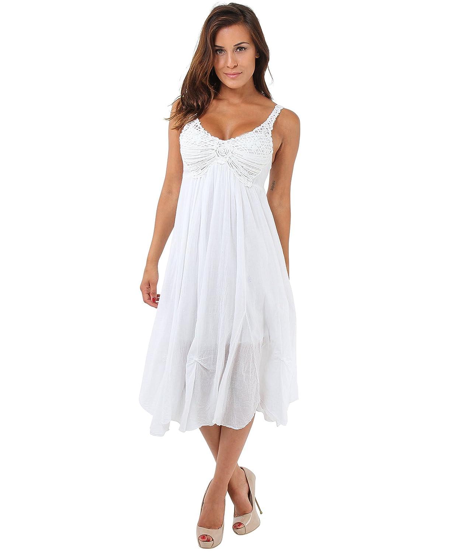 KRISP Damen Trägerkleid Mit Häkelspitze Midi Wadenlanges Kleid