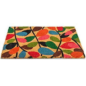 40 x 60 cm Nicola Spring Leaves Design Non-Slip Coir Door Mat PVC Backed Welcome Doormats