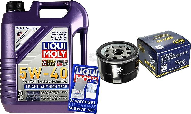 Filter Set Inspektionspaket 5 Liter Liqui Moly Motoröl Leichtlauf High Tech 5w 40 Sct Germany Ölfilter Auto