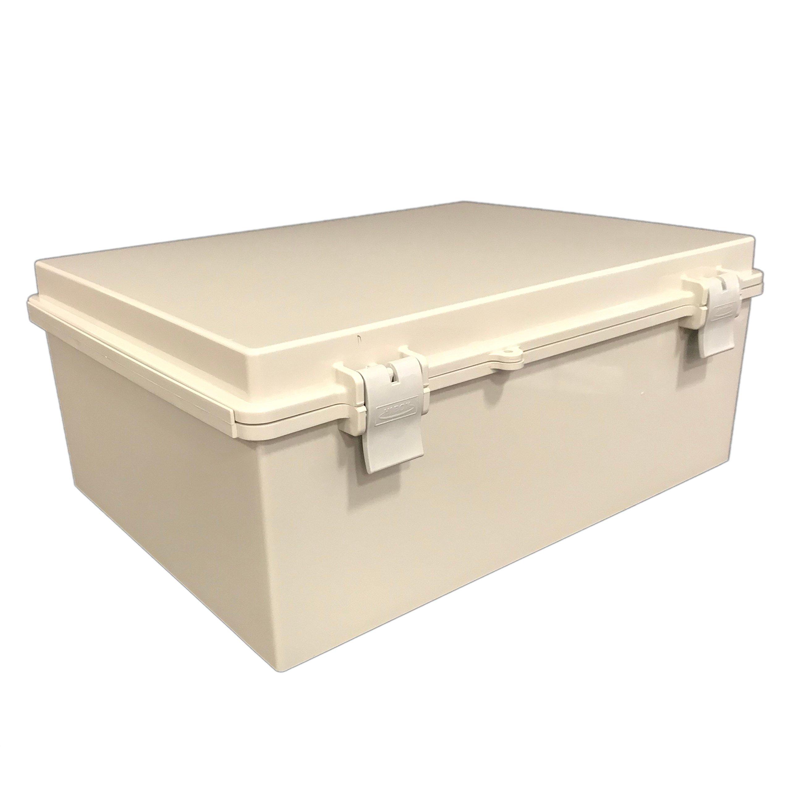 BUD Industries NBF-32026 Plastic ABS NEMA Economy Box with Solid Door, 15-47/64'' Length x 11-51/64'' Width x 6-9/32'' Height, Light Gray Finish