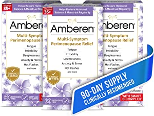 Amberen Peri: Safe Multi-Symptom Perimenopause Relief | Helps Restore Menstrual Regularity & Hormonal Balance | Relieves Fatigue, Stress, Hot Flashes, Anxiety & More - 3 Month Supply