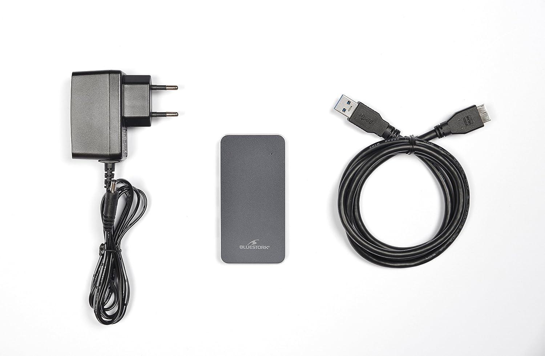 Hub de Aluminio USB 3.0 con 4 Puertos con Fuente de alimentaci/ón 2A Hub Bluestork HUB-USB3-4U-PS