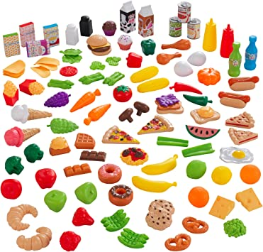 KidKraft KidKraft 115-Piece Deluxe Tasty Treats Pretend Play Food Set, Plastic Grocery and Pantry Items ,Gift for Ages 3+