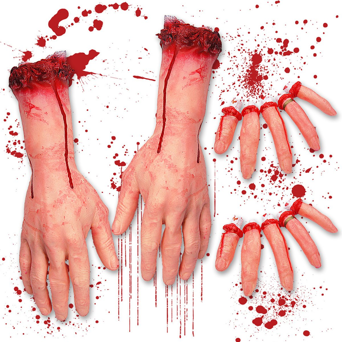 Pawliss Halloween Body Parts, Severed Fake Arms Hands Fingers, Horror Bloody Props, Haunted House Decorations by Pawliss