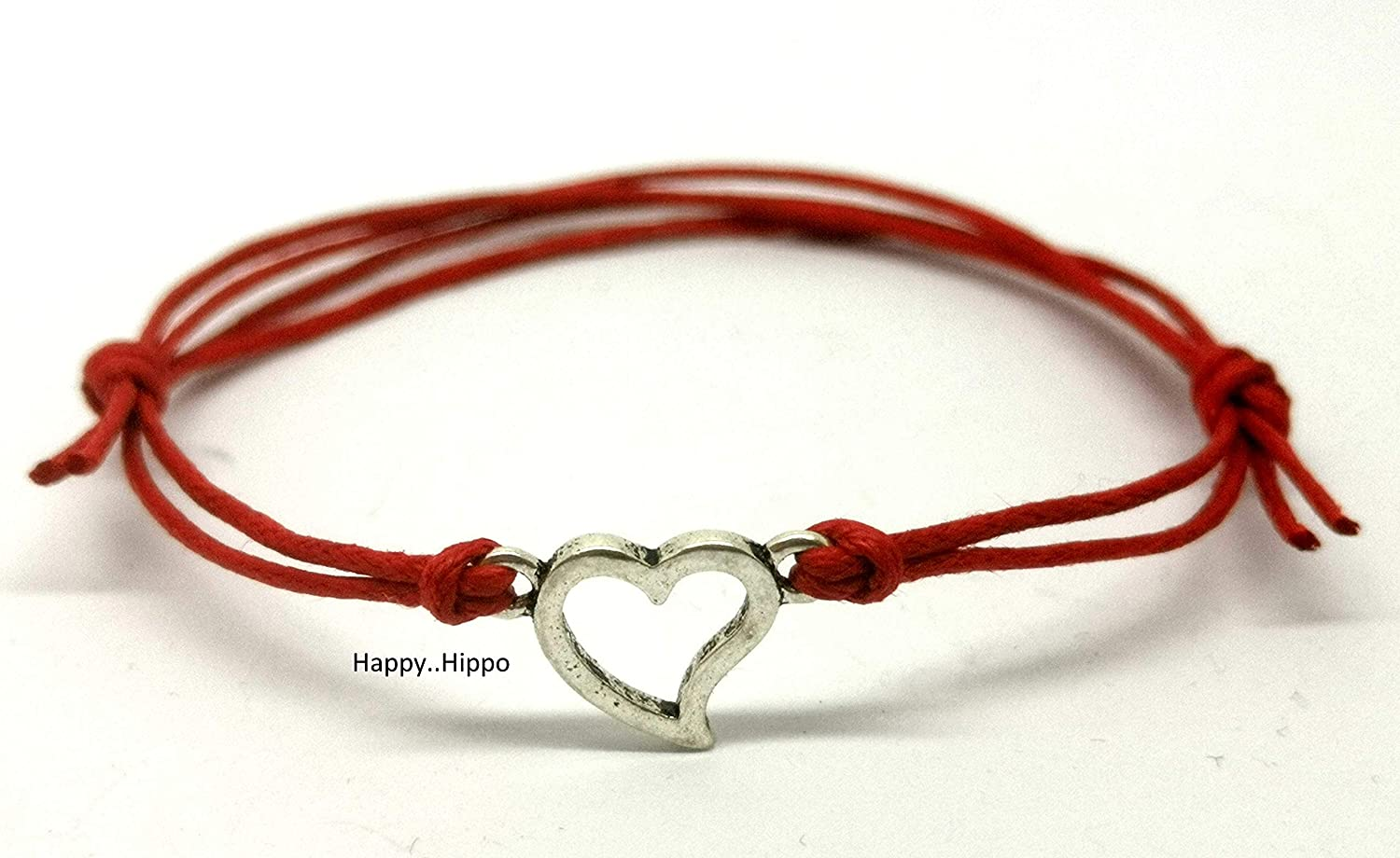 Blue Waxed Cotton Cord Friendship//Surfer Bracelet with Silver Heart Charm